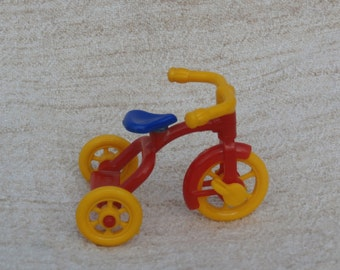 Renwal Red Tricycle Miniature Vintage Dollhouse Decor, Number 7, Made in USA