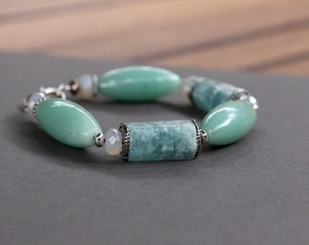 Aquamarine and Aventurine Bracelet Large Faceted Aquamarine Beads w Pearl Chalcedony and Bali Sterling Gemstone Jewelry