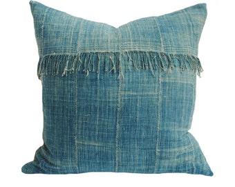 Blue Fringe Indigo/Denim Vintage African Mud Cloth Pillow