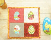 """Easter mini quilt tablecloth wall hanging Easter egg retro patchwork Shabby chic place mat applique red yellow green blue gray 10 x 10"""" gift"""