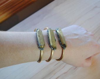 Gold Crystal and Pyrite Cuff Bracelet-multi color-you choose-ready to ship