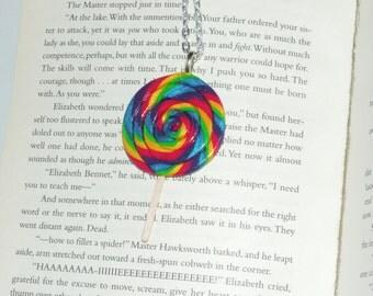 Lularoe Lollipop Leggings Inspired Matching Necklace. LLR leggings. lollipop swirl, candy, sucker, rainbow pop