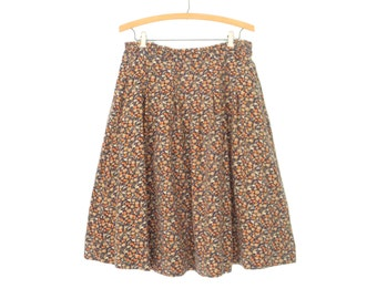 Vintage Floral Skirt * 80s Print Skirt * A-Line Midi Skirt * XL