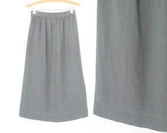 Vintage Linen Skirt * 80s Skirt * Flared Skirt * Medium - Large