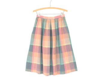 Vintage Plaid Skirt * Midi Picnic Skirt * Pastel 80s Skirt * Small