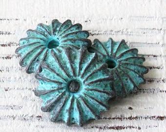 Mykonos Flat Sea Urchin Beads - Green Patina Beads - Jewelry Making Supply - Beads Made In Greece - 19mm -  Choose Amount