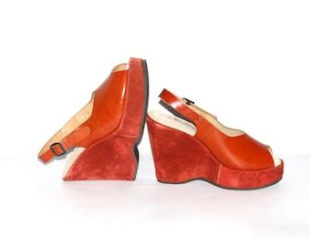 Vintage BARBARO PLATFORMS Red Suede Slingback Wedge Shoes 8 -DEADSTOCK-