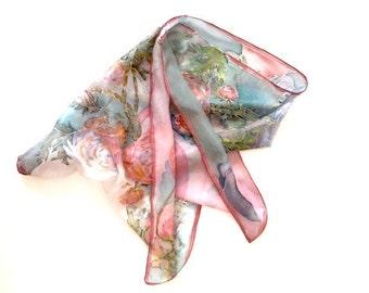luxury natural silk scarf hand painted on ponge silk