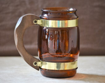 Siesta Ware Beer Stein/Iced Tea Mug/Brown Barrel Barware 70's