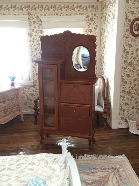 Miniature Side By Side, Dresser With Mirror, Drawers & Glass Door, Dollhouse Miniature Furniture, 1:12 Scale, Walnut Secretary, Cabinet