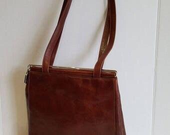 Vintage Brown Leather Renato Angi Venezia Slide Clasp Simple Shoulder Bag