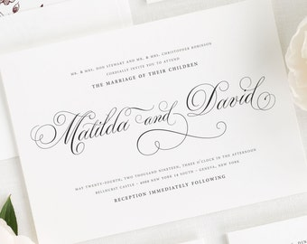 Angelic Script Wedding Invitations - Sample