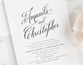 Rustic Modern Wedding Invitations - Deposit