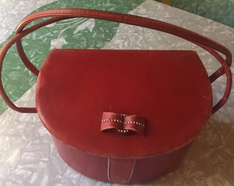 1940s Red Leather Bow Purse
