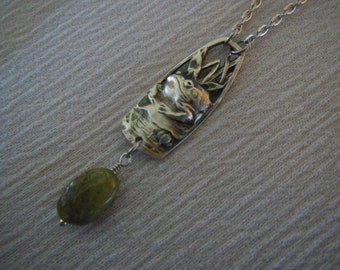 Frog With Green Garnet    Antique Sterling Silver Spoon Necklace