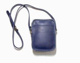 FLASH SALE Vintage Coach Bag / Coach Kit Bag / Mini Coach Purse / Blue Leather Coach Purse / Crossbody Coach Bag