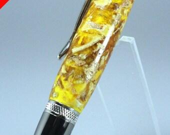 Handmade Gift for Her - Potpourri Grade Lemon Peel Yellow  Acrylic Resin Custom Cast Rollerball Pen - Free Shipping USA