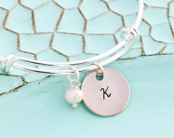SALE • Silver Bracelet Bangle Silver Charm Initial Disc • Handstamped Bangle Initial•Adjustable Bracelet Initial Sister Gift Friend Bracelet