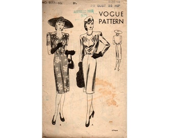 Vogue 5177 Elegant Evening Dress with Shaped Pleated Bodice 40s vintage sewing Pattern Size 14 Bust 32 inches