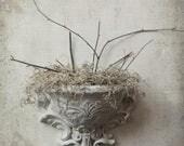 French Farmhouse Shabby Chic Sconce. White Shabby Ornate French Pocket Vase.  Cottage Vintage White