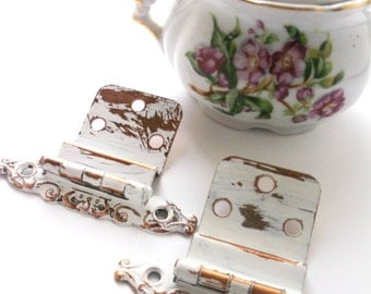 Shabby Vintage White Hinges. Antique Copper Cabinet Hinges.   Semi Concealed Cabinet Hardware.  Industrial Salvage.