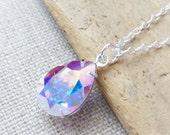 Aurora Borealis Swarovski Crystal Necklace, AB Teardrop Sterling Silver Necklace, Bridal Necklace, Bridal Crystal Jewelry, Crystal Pear Drop