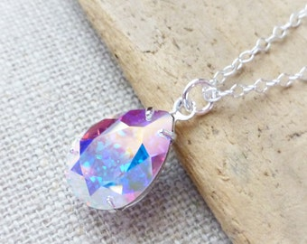 Aurora Borealis Swarovski Crystal Necklace, AB Teardrop Sterling Silver Necklace, Bridal Necklace, Bridal Crystal Jewelry, Crystal Pear Drop