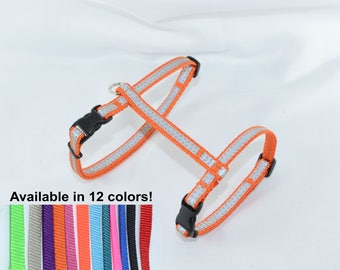 REFLECTIVE Cat, Rabbit, Small Pet Harness - H-style - MADE to ORDER