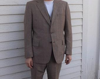 Suit 70s Mens Subtle Plaid Vintage Retro 44 R 3 pc Bradbury Clothes