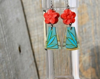 BLOOMED / Wood Earrings / Hand Painted / Flowers / Earrings / Women's Jewelry / Gifts For Her / Red