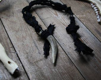 Dark Harvest : Naturally Shed Antler and Recycled Silk