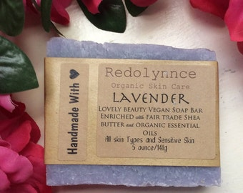 Lavender--Organic Vegan Soap Bar made with Essential Oils. GMO free.