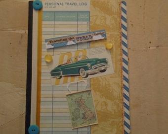 World Travel Log Journal Altered Composition Book