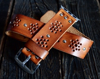 Vintage Bohemian  Double Tour Band - Wrap Band  Apple Watch Band Strap -  Handmade leather band for Apple Watch 38mm 42mm