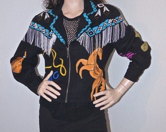 Vintage Sequin Jacket / Western Theme 80s Sequin Jacket / Novelty Cowgirl Bead Sequined Jacket / Pop Art Modi Jacket Horseshoes Bronco Lasso