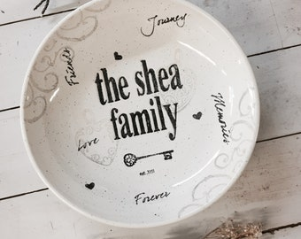 2008nan-f Hand Painted Personalized Pottery Family Name Bowl, Personalized Family Gifts, Family Established Year Bowl, Housewarming Gift