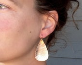 Large Teardrop or Pear Shaped Hammered Texture 14 Karat Rose Gold Boho Chic Earrings | Rose Gold Earrings | Boho | Dangle Earrings