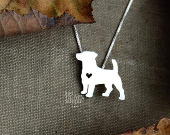 Jack Russell Terrier necklace sterling silver, tiny silver hand cut dog pendant with heart,