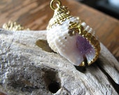 Seashell necklace | amethyst crystal | pendant gold | crystal point | beach | gold dipped