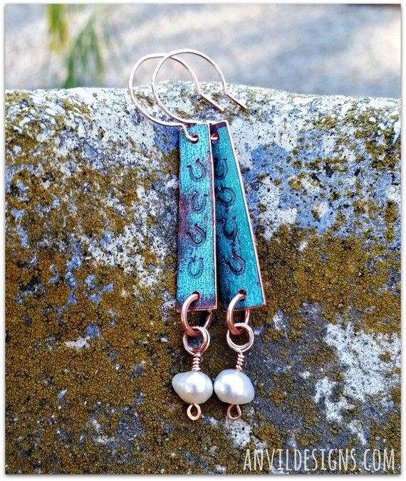 Horseshoe Earrings, Copper Earrings, Pearl & Copper, Reclaimed Copper, Equestrian Style, Turquoise Patina, Upcycled, Horse Lover, Gift Item