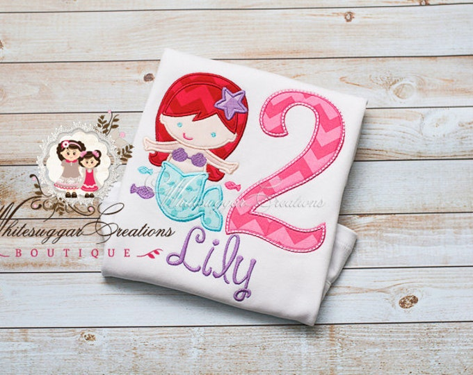 Girls Birthday Shirt - Little Mermaid Inspired Birthday Shirt - PREMIUM Custom Princess Birthday Shirt - Mermaid Party Outift