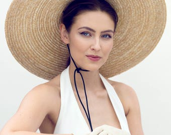 Wide Brimmed Sun Hat, Black Rose, Hat for Races, Resort Wear - Capucine