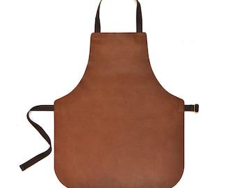 Handmade Tan Brown Leather Workwear Apron