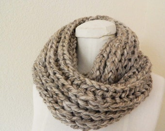 Brown Taupe Soft Chunky Mini- Infinity Scarf for teens - Handknit, Ready to Ship