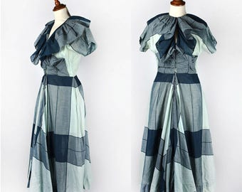 Claire McCardell Clothes by Townley, a Hope Skillman Fabric || Green Dress with Ruffled Collar and Full Skirt