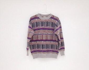 ON SALE Vintage 1980s BENETTON Shetland Wool Unisex Pullover Sweater