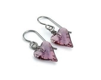 Niobium Earrings Antique Pink Heart, Light Purple Swarovski Love Heart Crystal Titanium Earrings for Sensitive Ears, No Nickel Earrings
