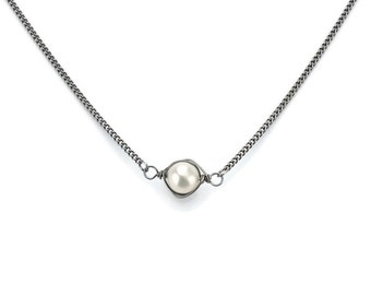Titanium Wrapped Pearl Necklace, Niobium Wire Wrapped Ivory Freshwater Pearl on a Titanium Necklace for Sensitive Skin, Hypoallergenic
