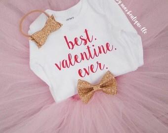 Valentines Day outfit; Best Valentine Ever; Baby Girl Valentine Outfit; Valentine's Day outfit; valentines dress; Sewn Tutu; Glitter