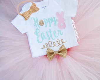 First Easter Outfit, Hoppy Easter Onesie; Baby Girl Tutu Easter Outfit; Baby Girl Easter Dress; My 1st Easter bodysuit Tutu and Headband